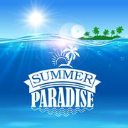 Summer paradise banner. Ocean, palms island Stock Illustration