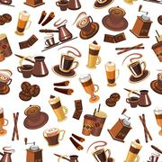 Coffee seamless pattern with beans, cups, mills Stock Illustration