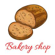 Bakery shop baked wheat and rye bread loaf icon Piirros