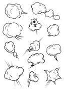 Puffing, exploding, steaming cloud cartoon icons Stock Illustration