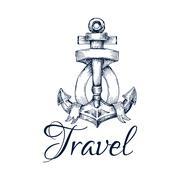 Travel icon. Anchor and ribbon node emblem Stock Illustration