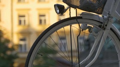 Bicycle Spokes and Lantern Stock Footage