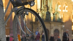 Bicycle Wheel with Lantern Stock Footage
