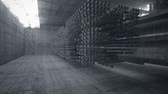 Empty dark abstract concrete room interior. Night view. Stock Footage