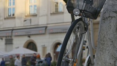 Parked Bike and Crowd Stock Footage