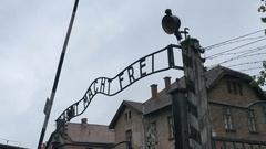 Auschwitz Gate on Bad Weather Stock Footage