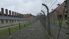Electric Fence at Nazi Extermination Camp Stock Footage