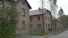 Auschwitz Buildings and Fence Stock Footage