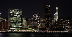 New York City night skyline buildings manhattan midtown Stock Footage