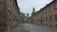 Auschwitz Camp Buildings Stock Footage