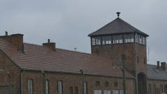 Auschwitz Birkenau Gates Tower Stock Footage