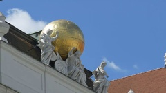 Globe and Antiquity Muses Statues Stock Footage