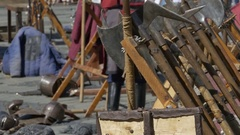 Medieval Weapons on Wood Stand Stock Footage