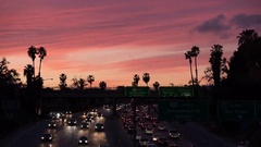 8K Freeway Sunset Time Lapse 02 Pam Trees Los Angeles Stock Footage