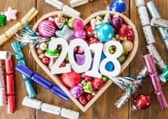 Happy new Year 2018 with colorful party crackers and decorations Kuvituskuvat