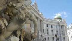 Hofburg Palace Fountain in Wien Stock Footage
