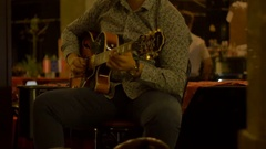 Outdoor Night Electric Guitar Player Stock Footage