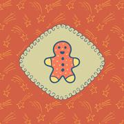 Christmas and New Year vintage ornate frame with Gingerbread Man symbol Stock Illustration