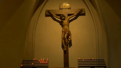 Christ Statue and Candles Stock Footage