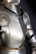 Armour of the medieval knight. Metal protection of the soldier against the we Stock Photos
