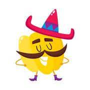 Smiling bell pepper with thick moustache and Mexican sombrero Stock Illustration