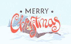 Beautiful inscription Merry Christmas Stock Illustration