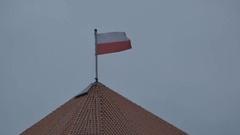 Poland Flag on Bad Weather Stock Footage