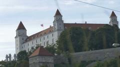 Ground View of Bratislava Castle Stock Footage