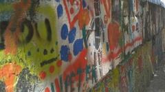 Graffiti Painted Wall Stock Footage