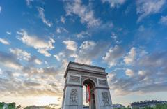 Arc de Triomphe at sunset Stock Photos