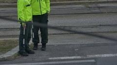 Road Policemen Waiting Stock Footage