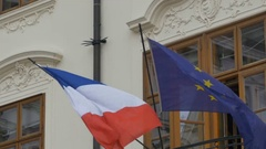 Flag of France and European Union Stock Footage