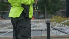 Security Man with Gun Stock Footage