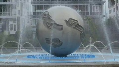 Bratislava Modern Fountain Stock Footage