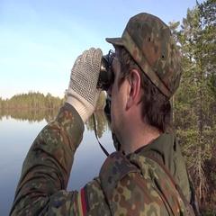 Guy watch binoculars. Stock Footage