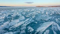 4K. Movement of the clouds over the Lake Baikal. Lake Baikal, Irkutsk region, Stock Footage