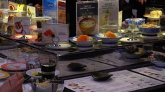 Sushi Restaurant - Conveyor Belt Sushi Stock Footage
