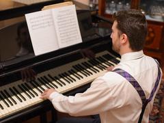 Portrait of music performer playing his piano Kuvituskuvat