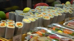 Sushi Restaurant - Exposition of Plates Stock Footage