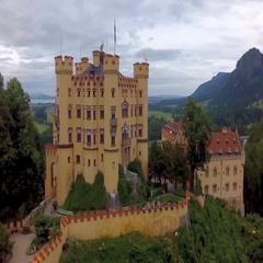 Aerial Germany Palace Schwangau Stock Footage