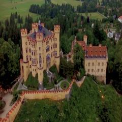 Aerial Germany Palace Hohenschwangau Stock Footage