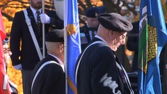 Soldiers and war veterans on remembrance day military ceremony Stock Footage