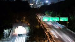 8K Freeway to LA Downtown 18 Time Lapse Night Stock Footage