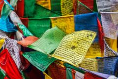 Tibetan Buddhism prayer flags lungta Stock Photos