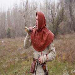 Medieval man blowing into a horn, knight, horn Stock Footage