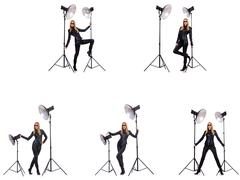 Collage of woman during photo shoot isolated on white Stock Photos