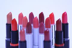 Bunch of lipsticks various colors Stock Photos