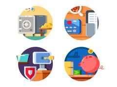 Storage money in bank Stock Illustration
