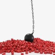 Wrecking ball red dice Stock Illustration