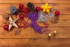 Christmas ornaments and decorations, prepare for winter holidays background Stock Photos